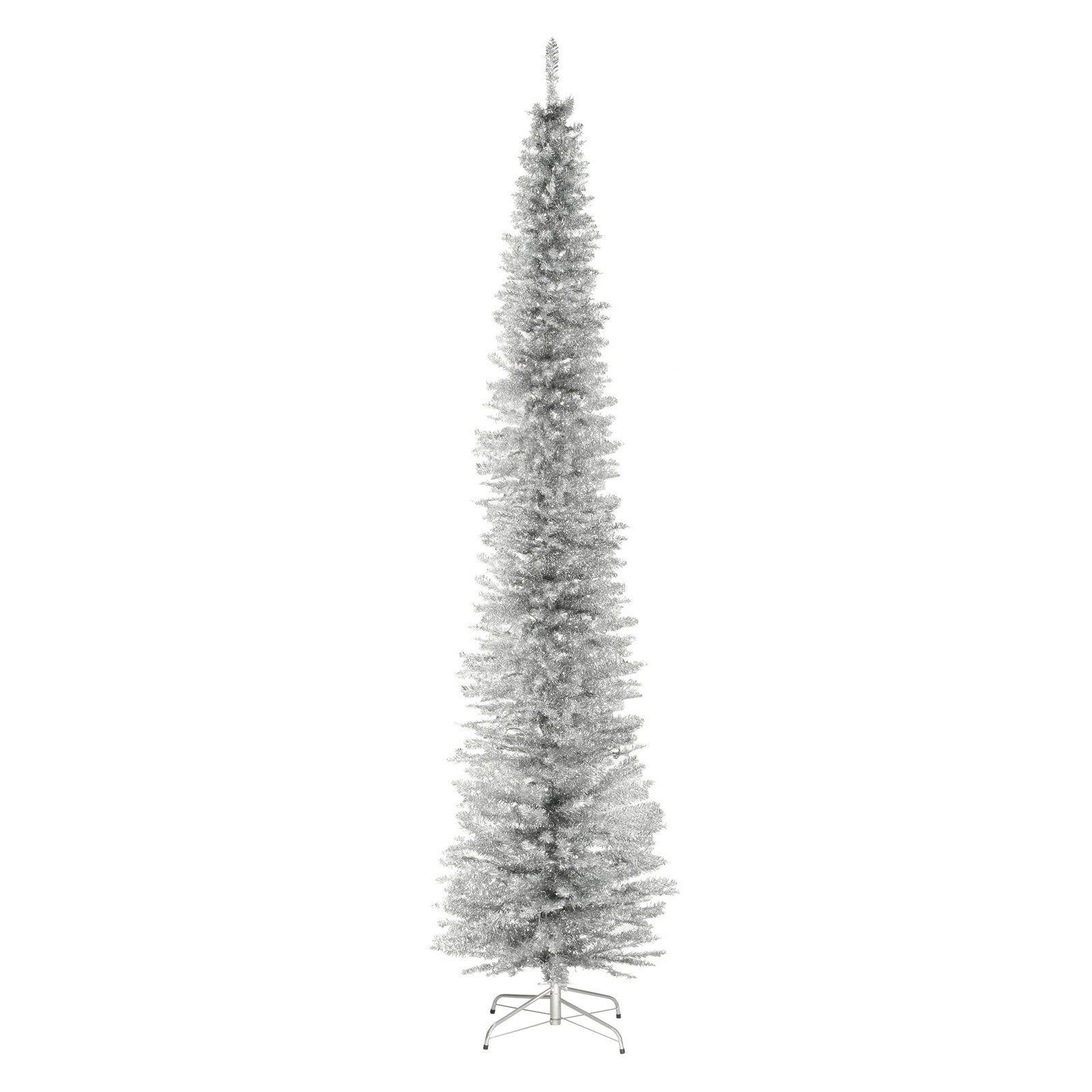 National Tree Company 9 ft. Tinsel Christmas Tree Silver