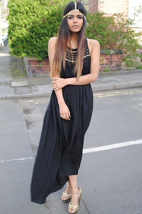 Grecian Boho Asymmetrical Hemline Maxi Halter Dress at Sugarlips - $45