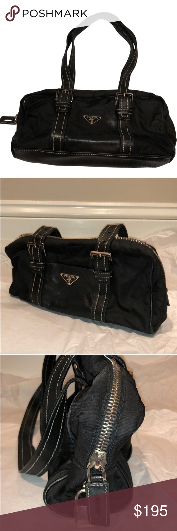 755cffc36f2 Prada Black Lambskin Leather and Nylon Purse Beautifully kept classic Prada  bag in Nylon with Lambskin