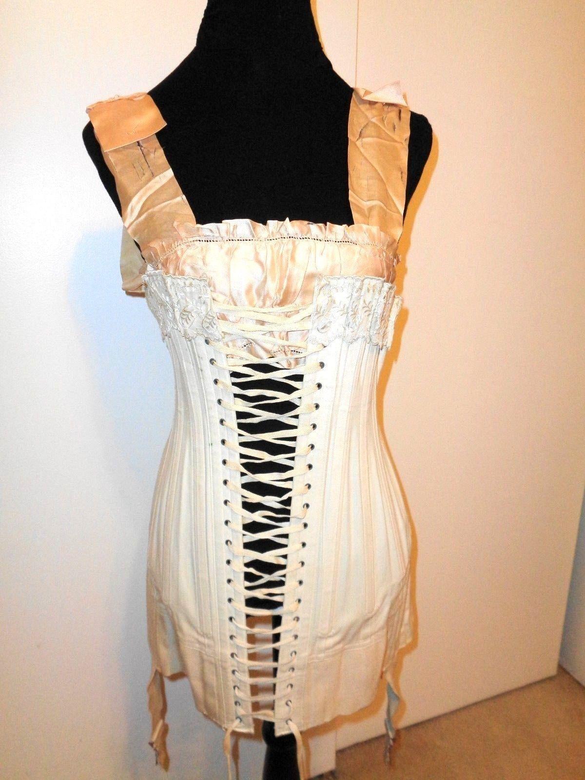 767d44bdf8a Antique Victorian - Edwardian Wilhelmina White Lace and Linen Bone Corset  with Peach Satin Camisole
