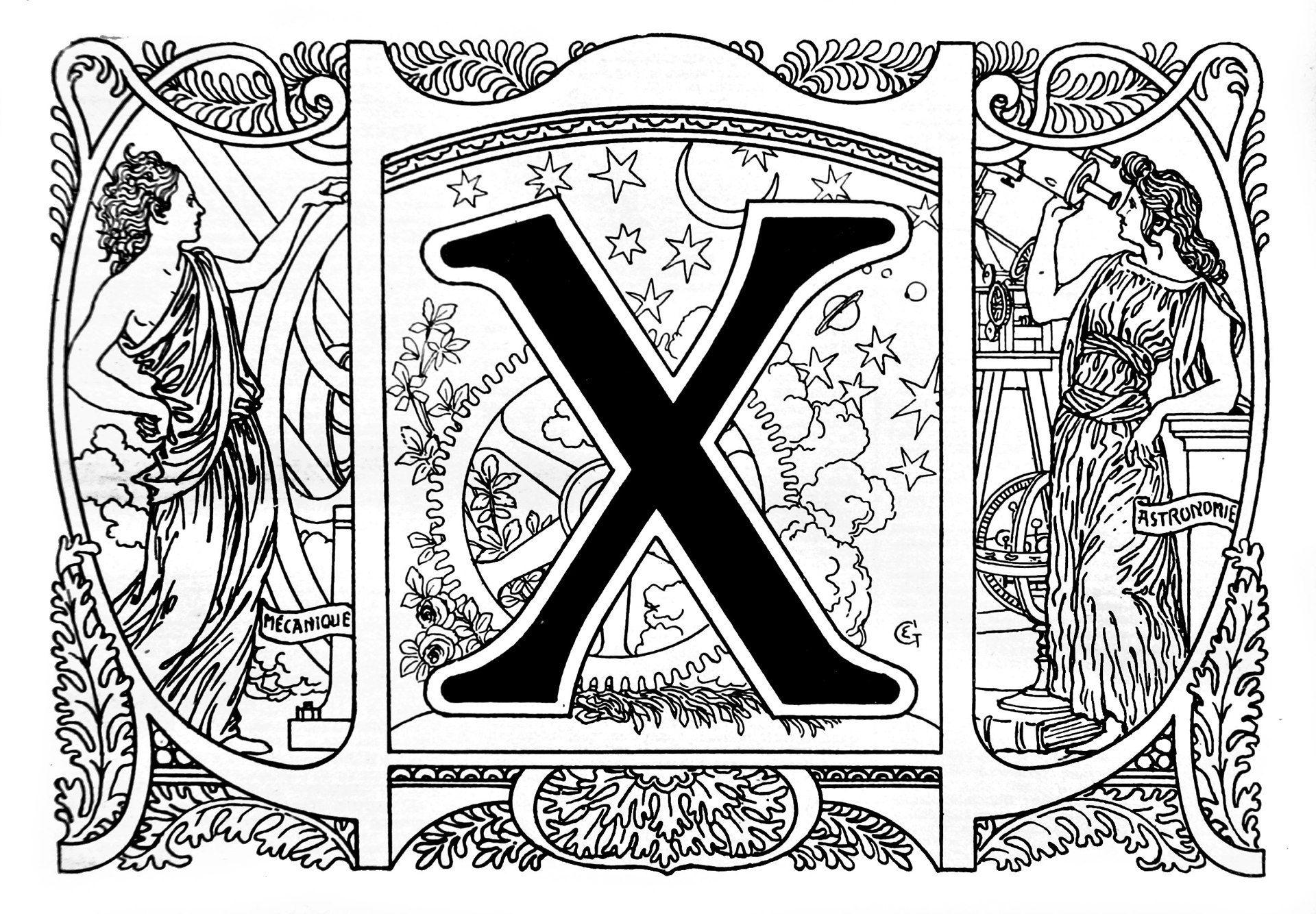 X L'alphabet de Eugène Grasset Lettering, Ancient paper