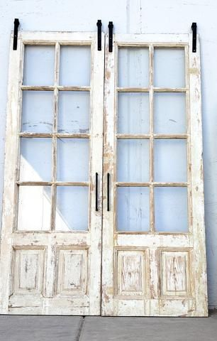 Photo of Pair of Wide Bleached Oak 5 Panel French Doors with Round Center Panel