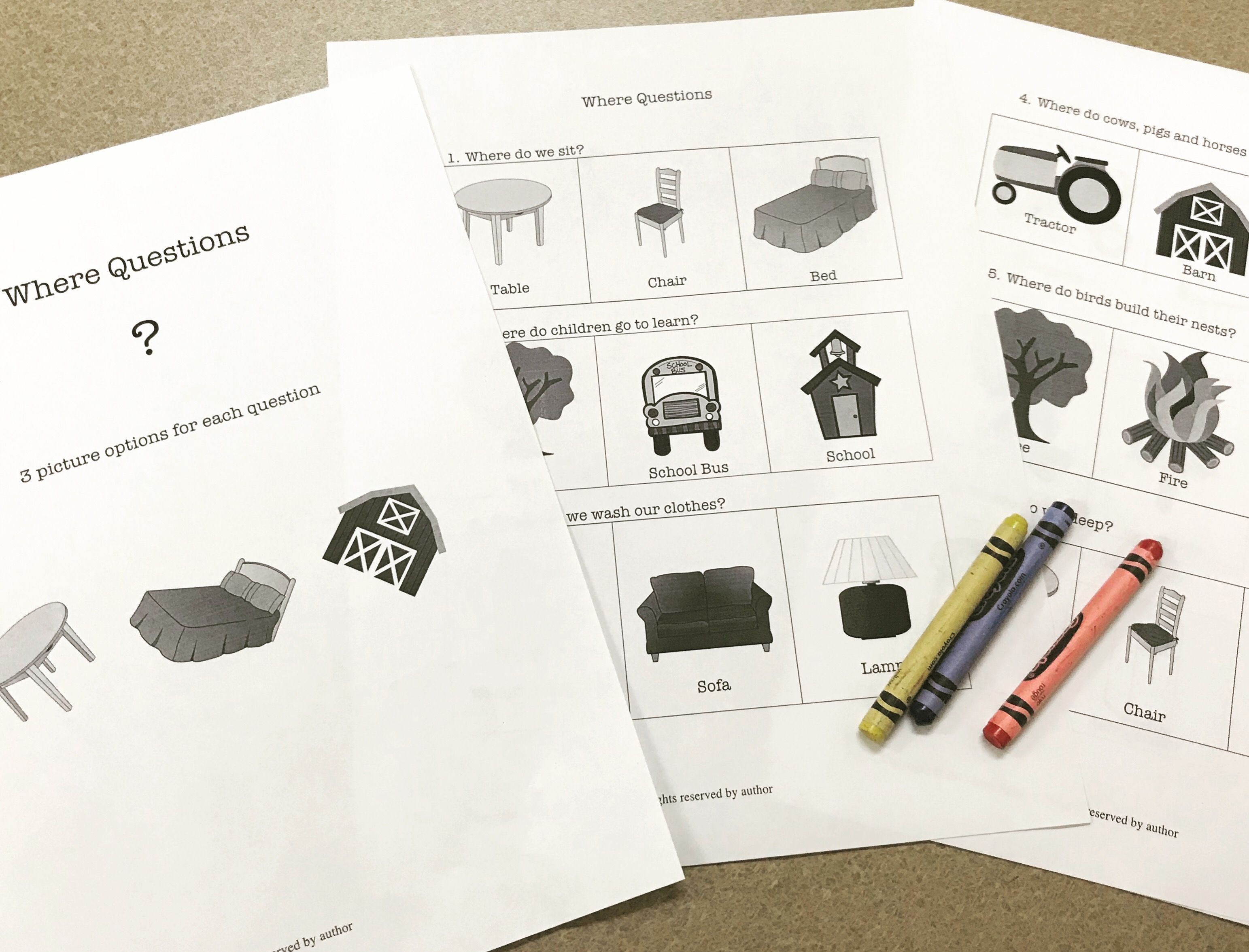 Simple Where Questions Worksheet For Younger Elementary