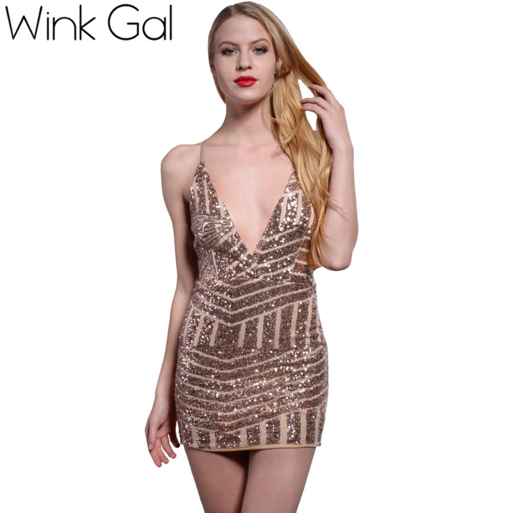 Wink gal sequined women party dresses sexy backless sheath club