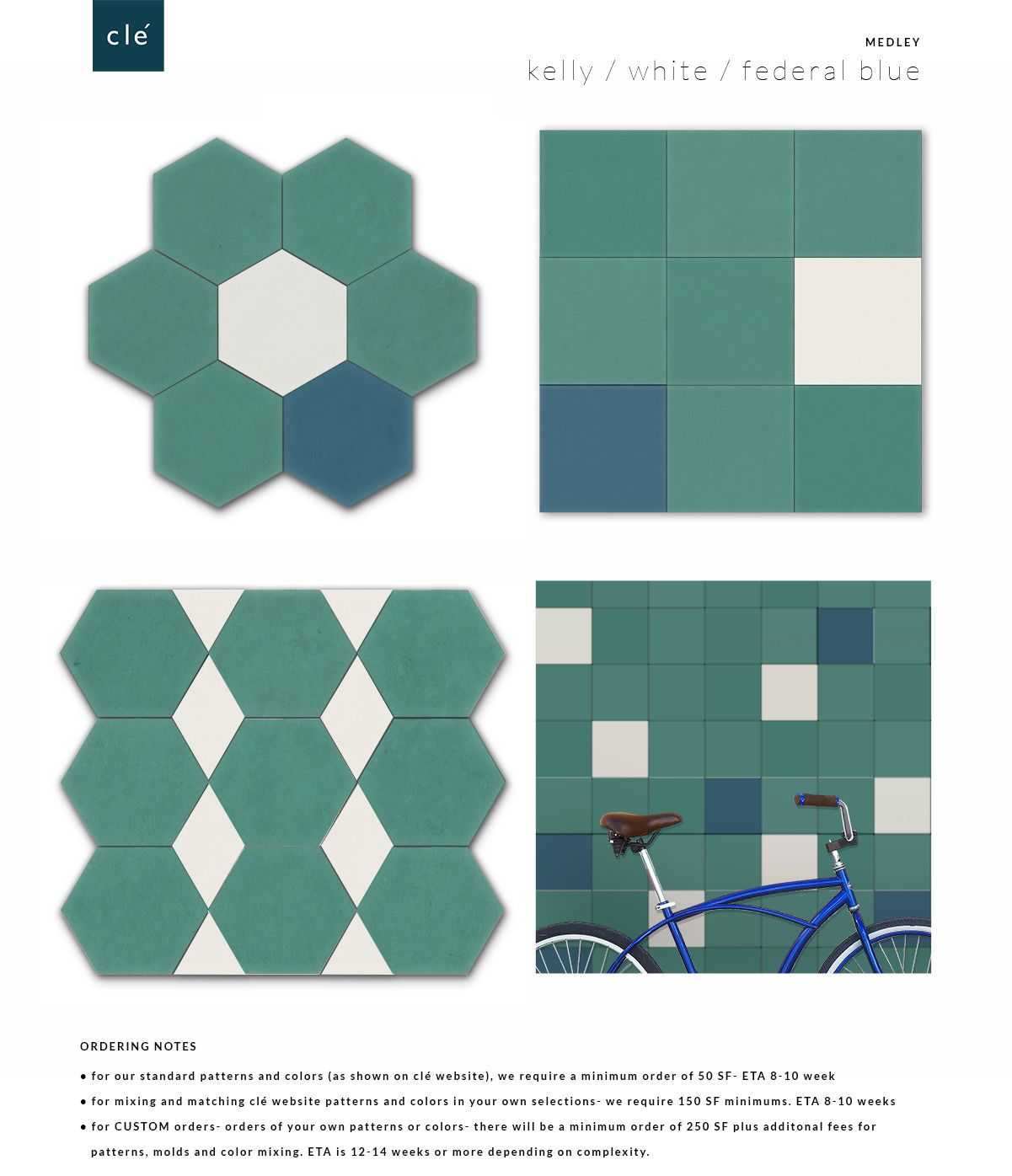 cement tile kelly green white federal blue medley | webster ...