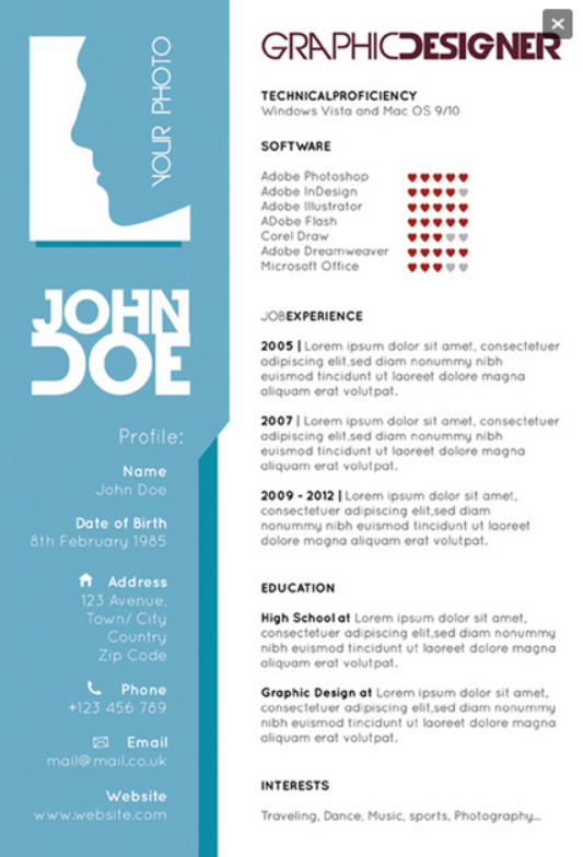 Graphic designers single page resume template Graphic