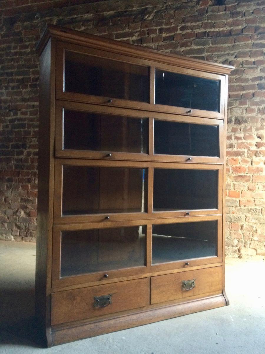 Vintage Glazed Golden Oak Bookcase from Henry Barker 3 (с