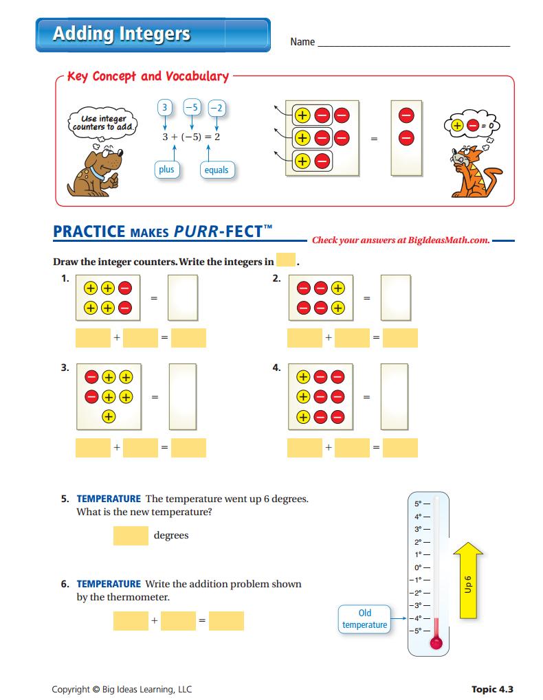 Adding Integers Worksheet Algebra Tiles Pinterest