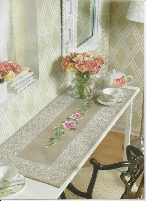 PATRONES PUNTO DE CRUZ GRATIS Gráfico camino de mesa con flores a