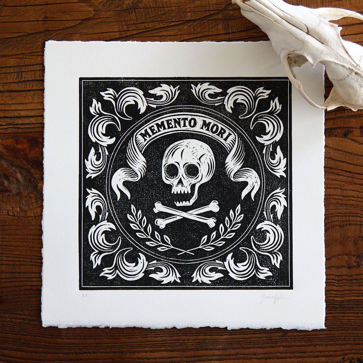 Memento Mori Linoprint Illustration Memento mori