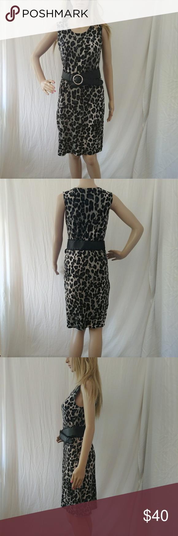 c9a36b9c902c Calvin Klein Sweater tank dress Nice leopard print sweater dress. Belt not  included Calvin Klein Dresses Midi