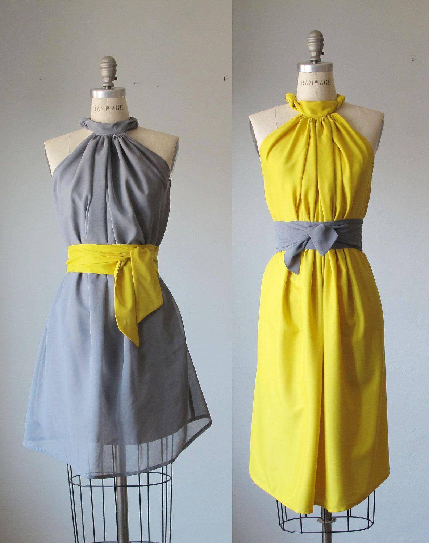 mismatched bridesmaid dresses  / Romantic /  mustard  / gray  / dresses /Fairy / Dreamy / Bridesmaid / Party / wedding / Bride /. $99.99, via Etsy.