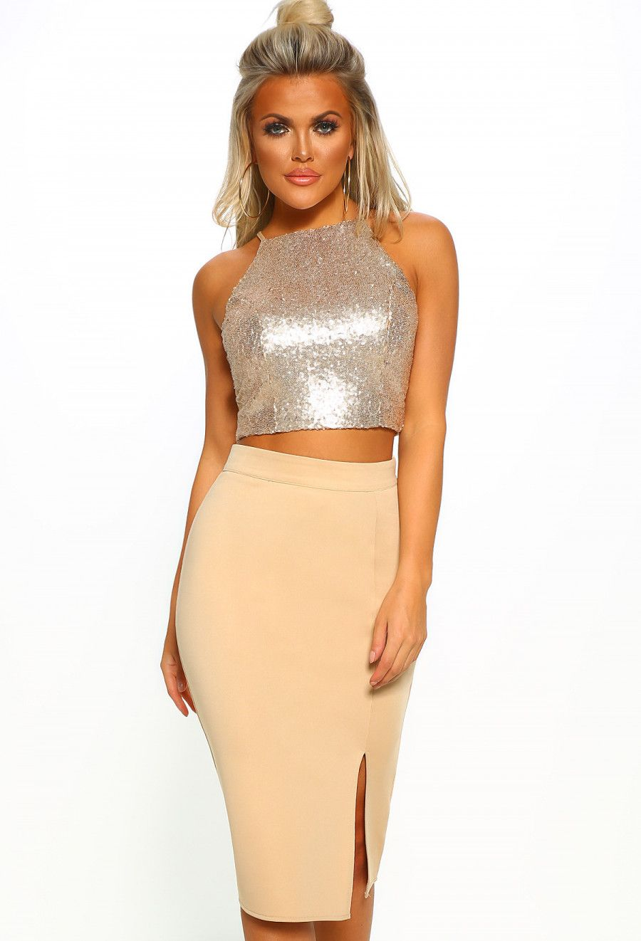 93742117238b20 Vegas Valour Gold Sequin Crop Top