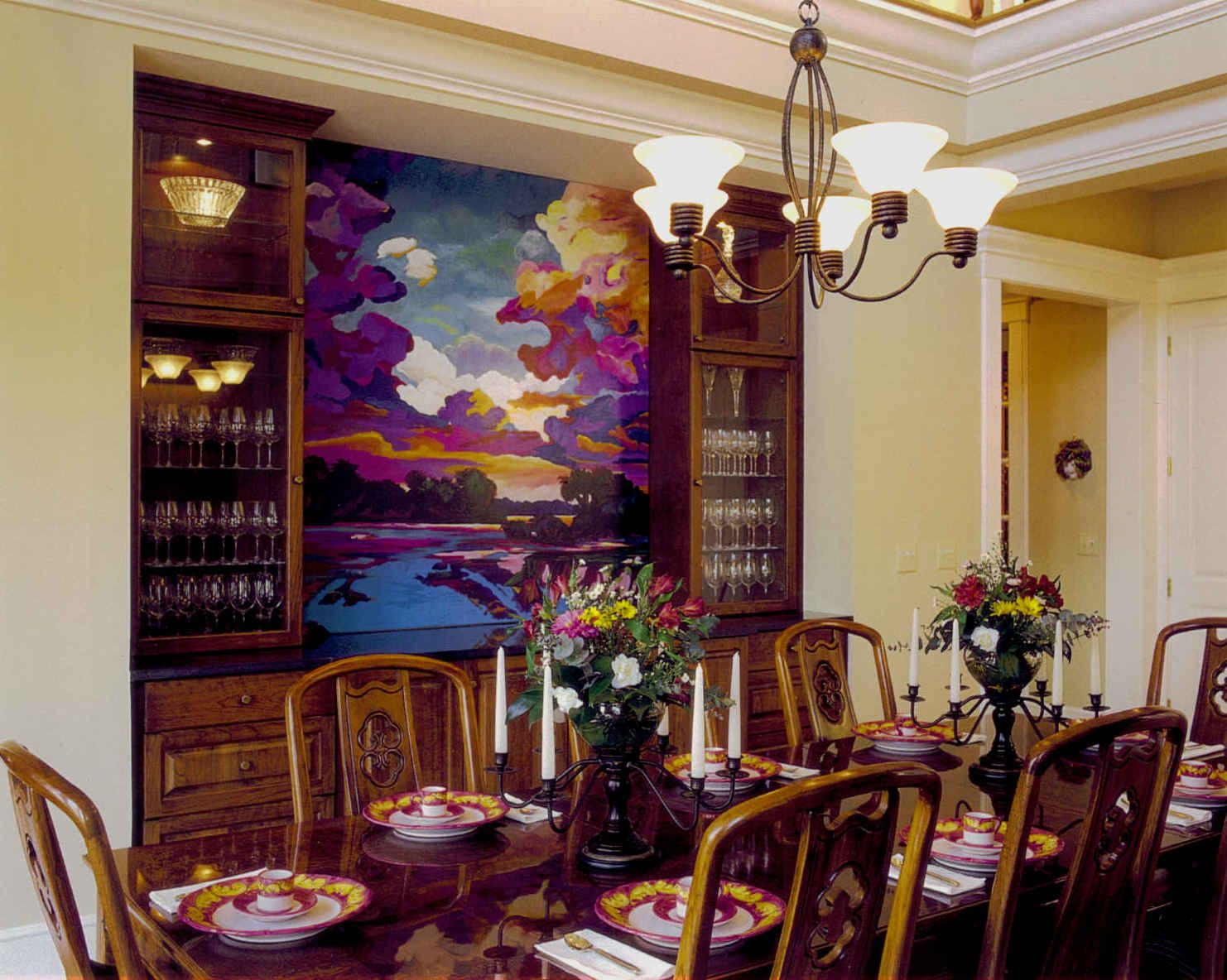 Asian Dining Room Custom Mural Yellow Walls Built In Dining Room