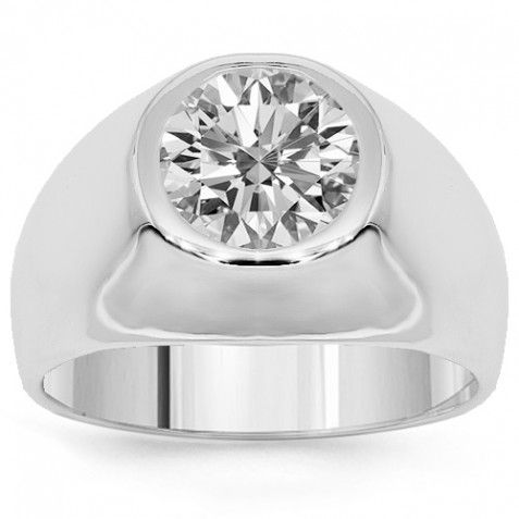 18k White Solid Gold Mens Clarity Enhanced Diamond