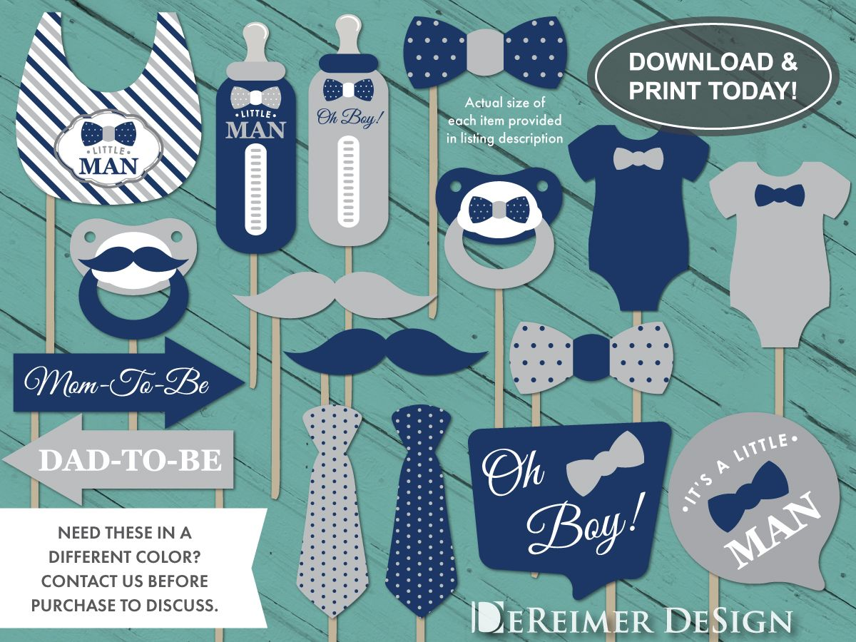 Little Man Photo Booth Props Navy Blue And Gray Baby Shower