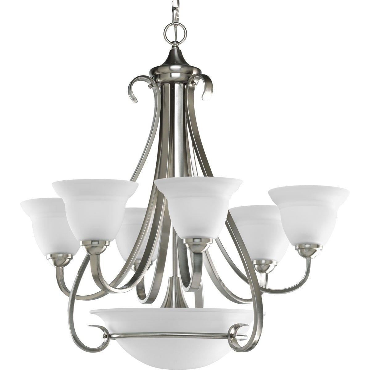 Six Light Two Tier Chandelier With Three Lght Downlight In Etched