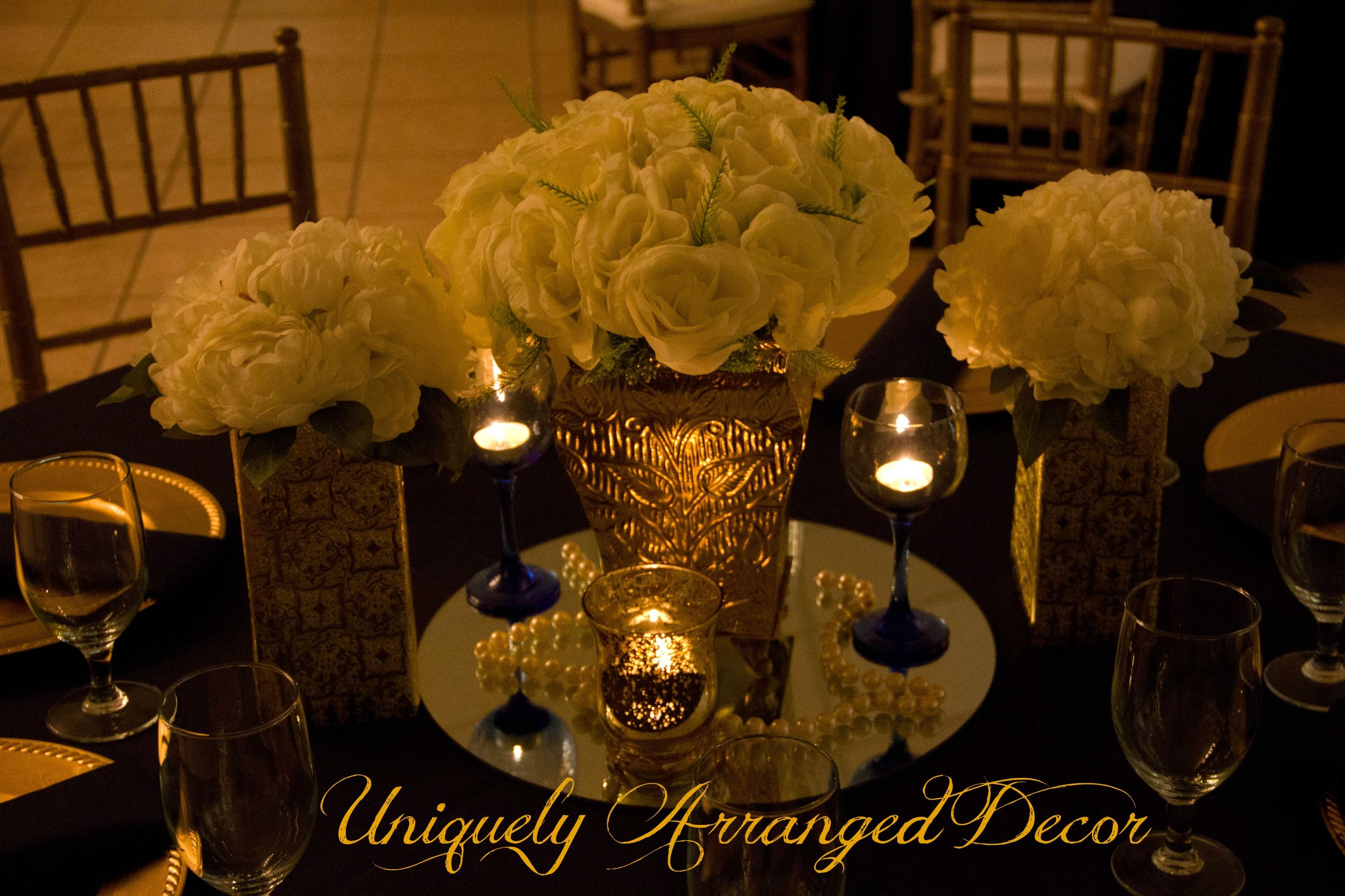 Navy Ivory And Gold Wedding Reception Elegant Candlelight Decort Centerpieces By Uniquely