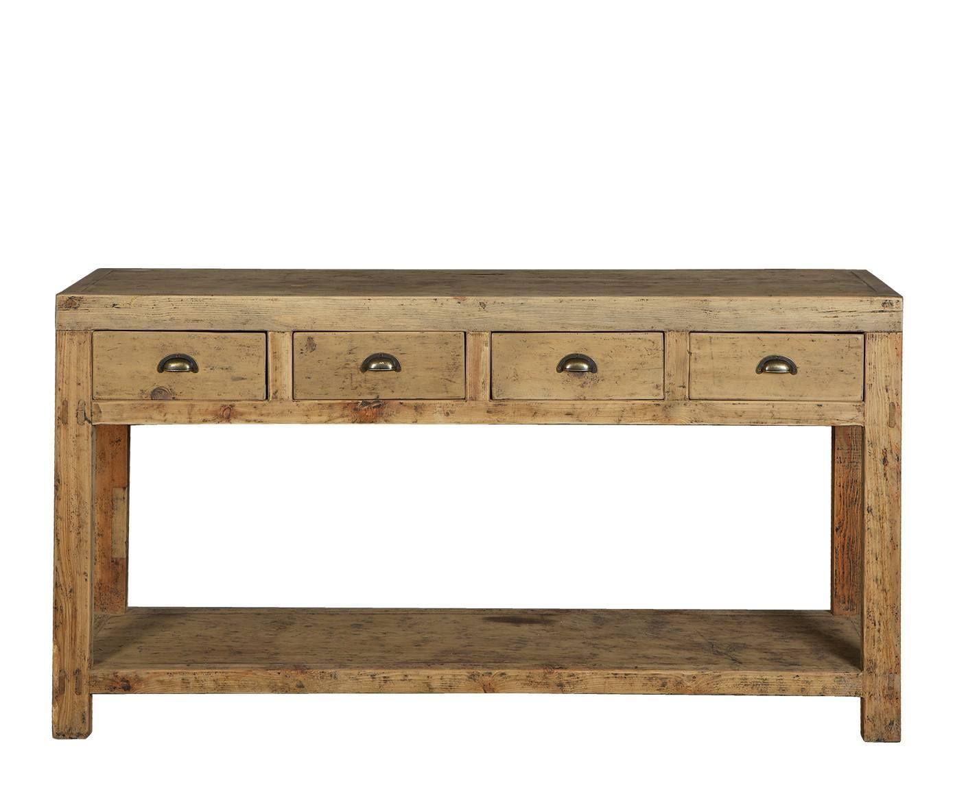 Consola de madera de olmo, rectangular – natural | Westwing Home ...