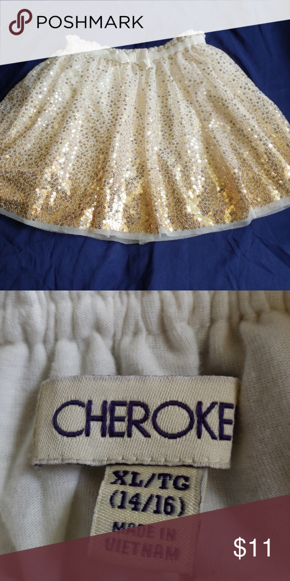 Cherokee skirt Cream tulle with gold sequins Cherokee