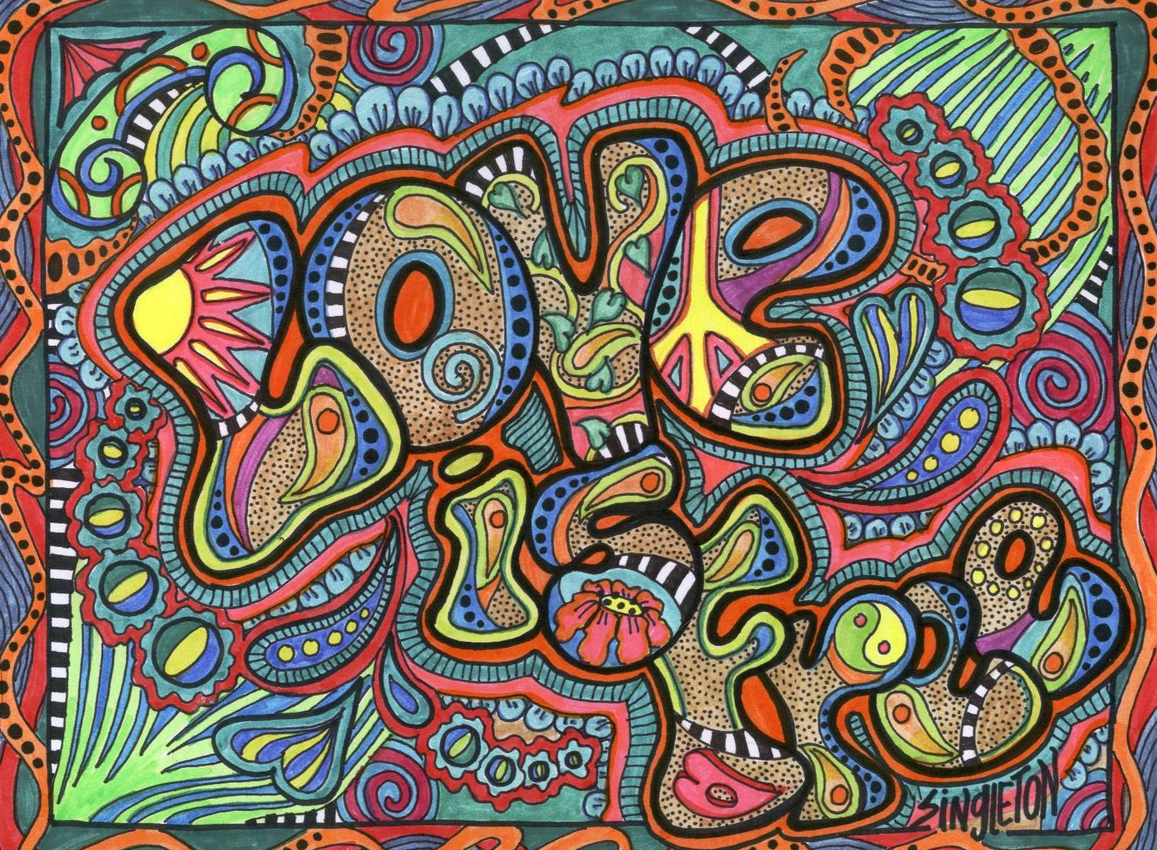 Psychedelic Hippie Art Love Is Free Trippy Hippie Psychedelic  ~ Papel De Parede Hippie Para Quarto