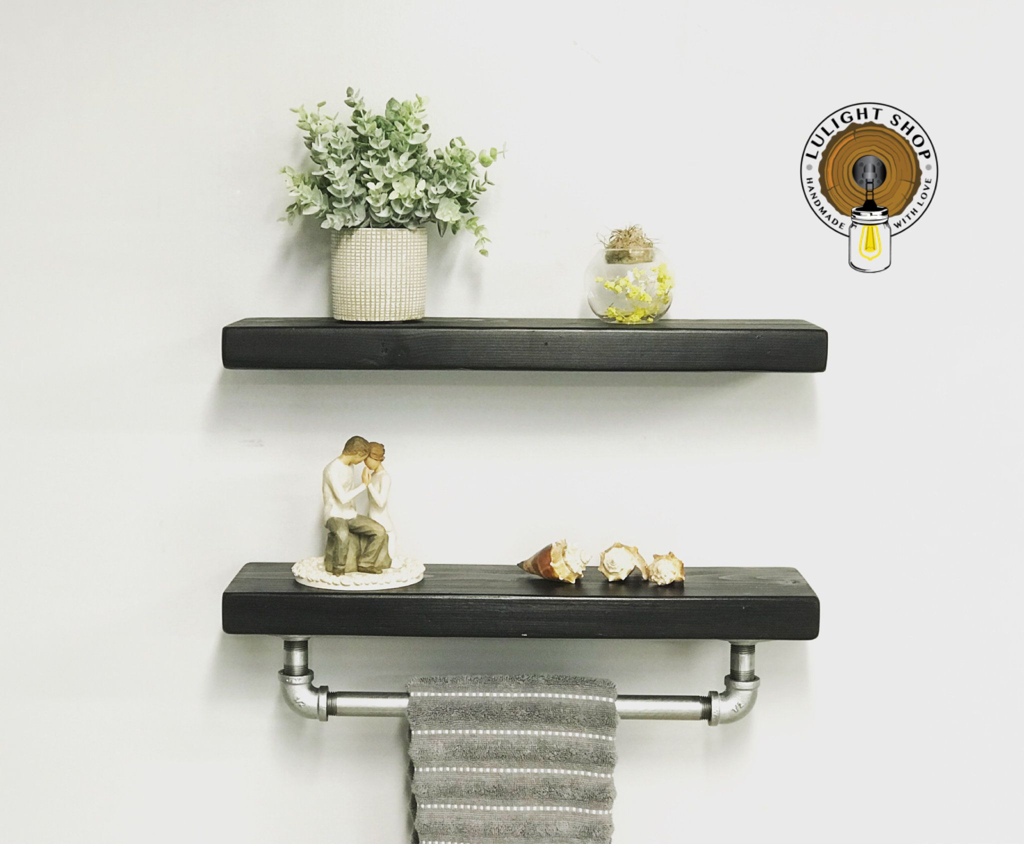 Black Floating Shelves Set Wood Shelves Floating Shelf Floating