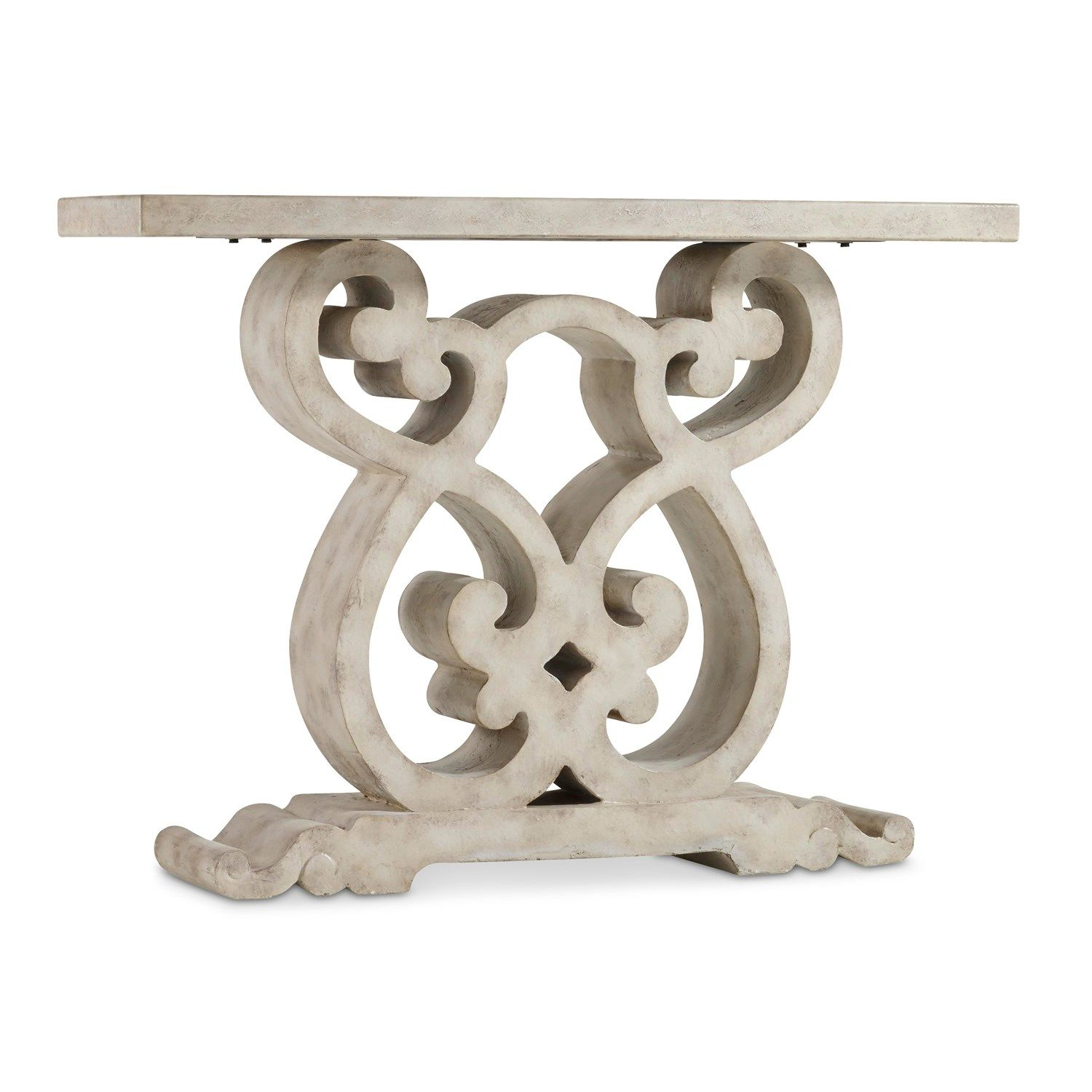 Hooker Furniture 5312 85001 Scroll Console Table In White/Cream/Beige
