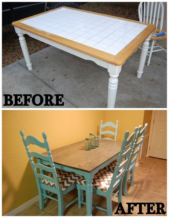 My Dining Set Is Done Chevron Aqua Yardsalemakeover Repainting Kitchen Tables Kitchen Table Makeover Tile Top Tables