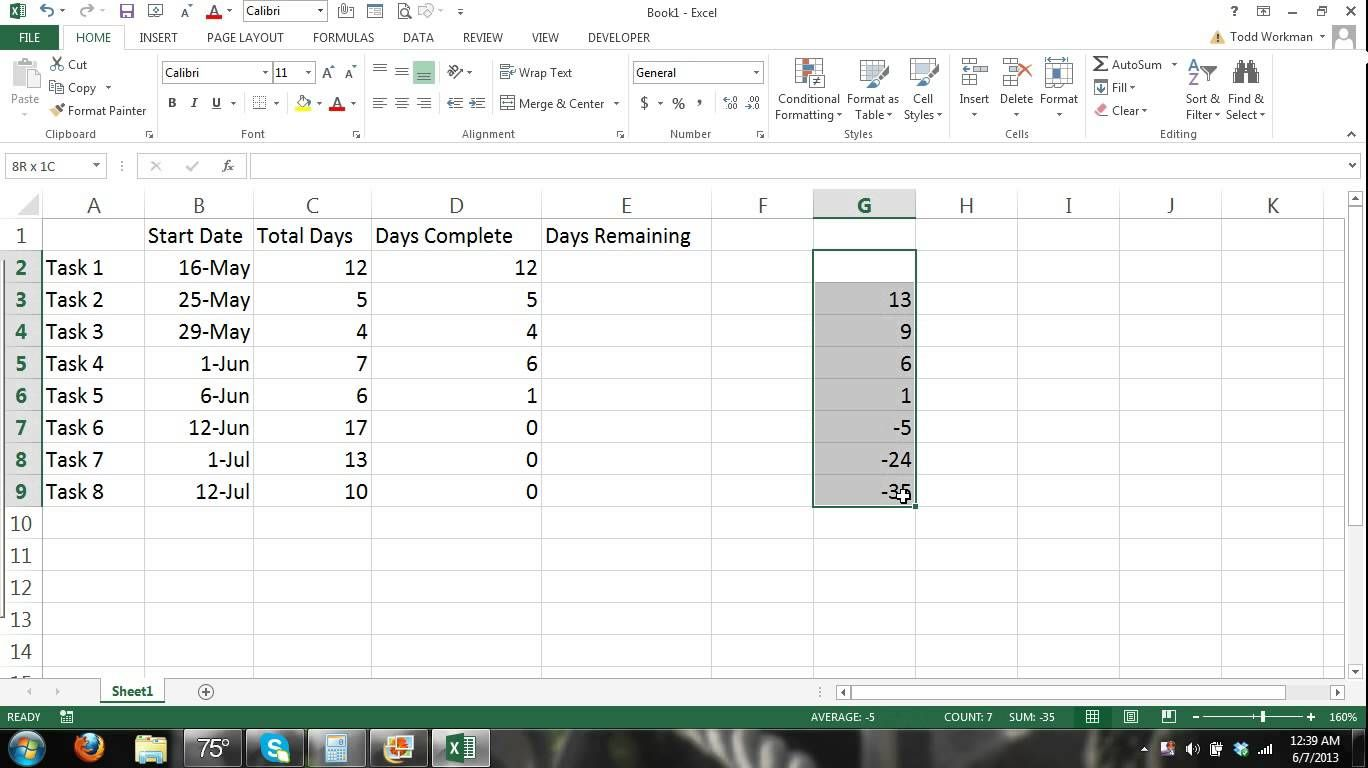 Part 1 How To Make A Gantt Chart Microsoft Excel 2013 Tutorial 1