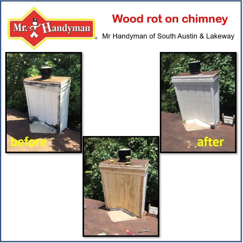 Do You Have Wood Rot On Your Chimney Check Out Our Photos Siding Repair Siding Repair