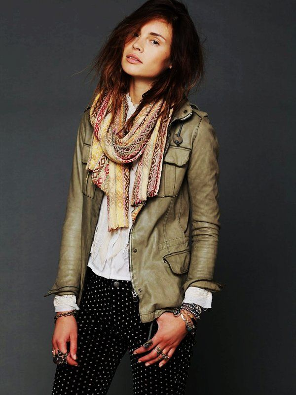 Like The Dark Trim Style Fitted Green Women Military Leather