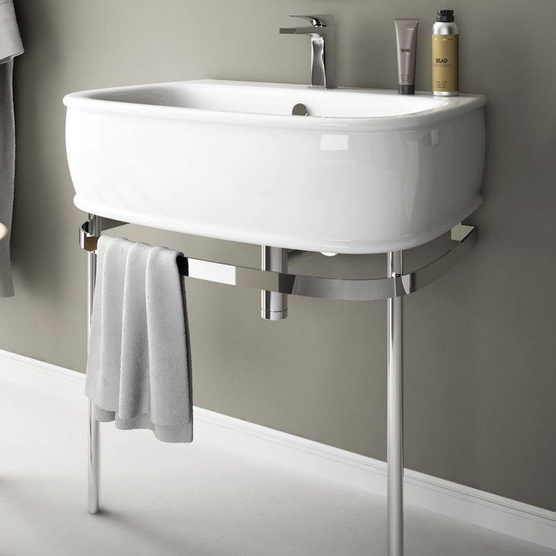 Art Ceram Waschbecken Azuley 72cm mit Untergestell Art - steckdosen badezimmer waschbecken