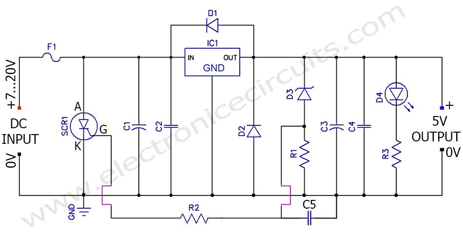 lm7805 5v regulated power supply overvoltage protection overcurrent rh pinterest com 7805 circuit diagram datasheet 7805 wiring diagram