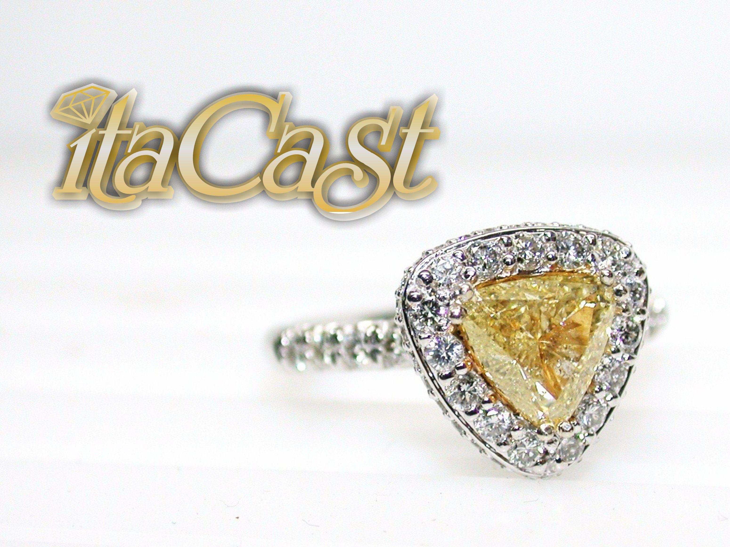 canary yellow trillion cut diamond