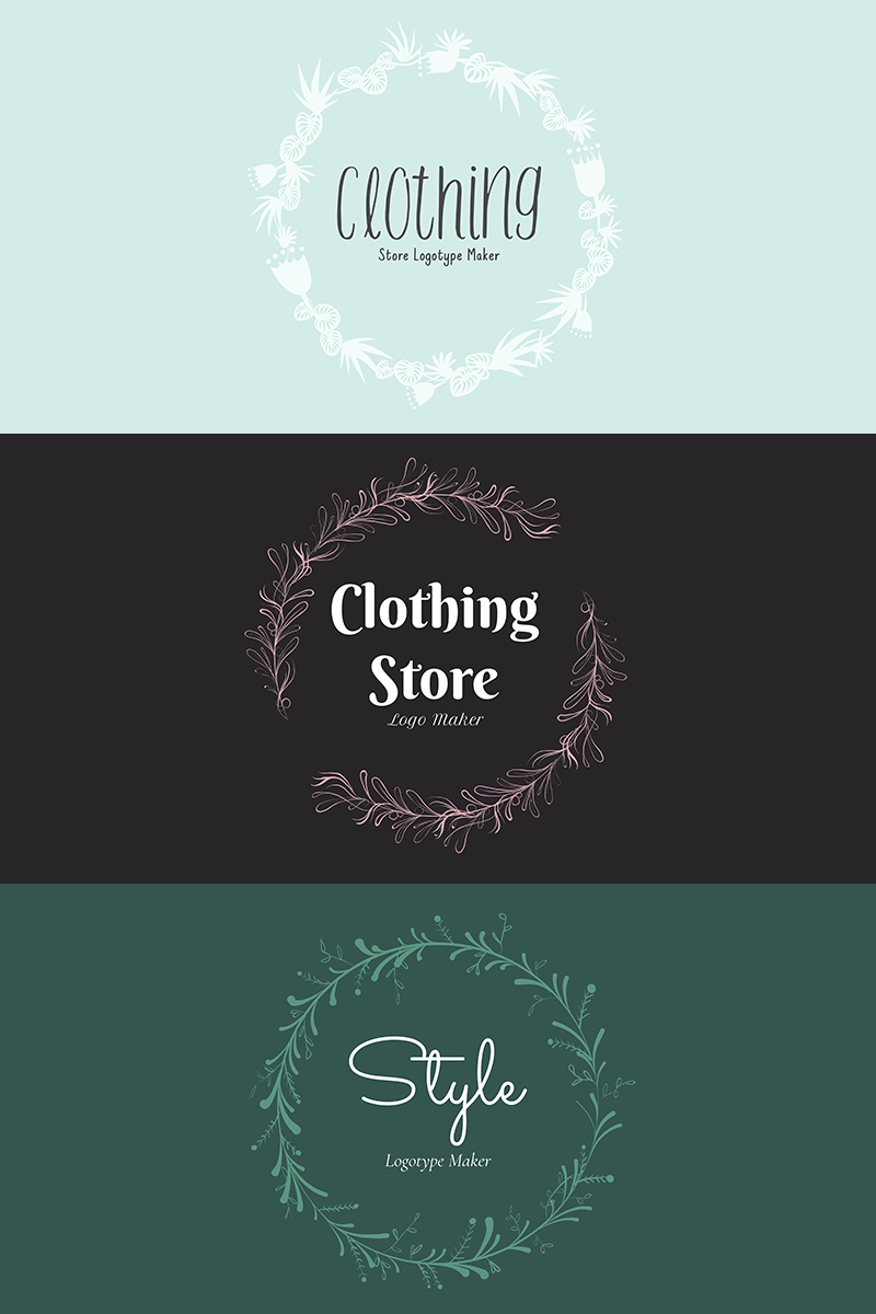 Vintage Clothing Store Logo Maker with Flower Garland 1084c is part of Vintage Clothes Logo -