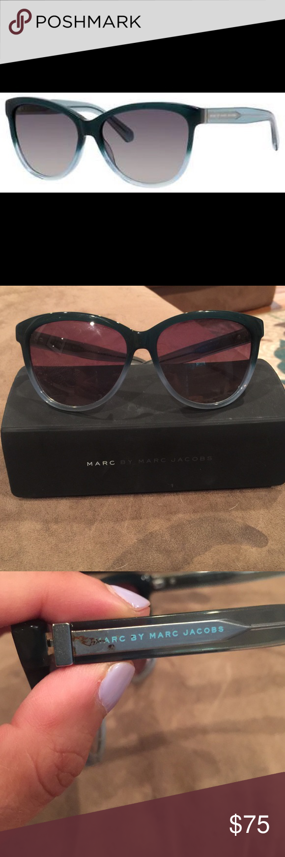 Marc Jacobs sunglasses Marc Jacobs sunglasses. I bought these at the beginning of this season but they don't suit my face well. Only flaw is a little mark on the side shown in pic 3. Retails for $147 Marc by Marc Jacobs Accessories Glasses