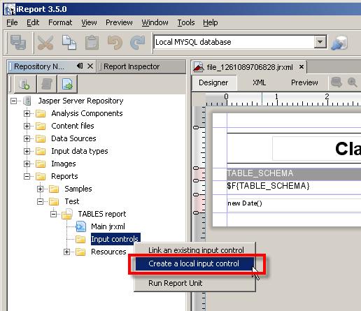 Reports Add Input Control  Jasperreports    Jasper