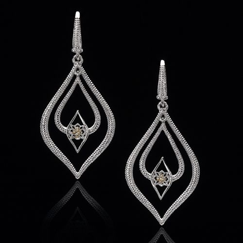 Two-Tone Silver Double Drop Earrings with 18k Yellow Gold Accents
