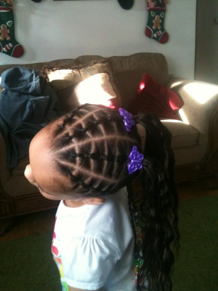 Connected sections and braids. Great protective hairstyle for little black girls!
