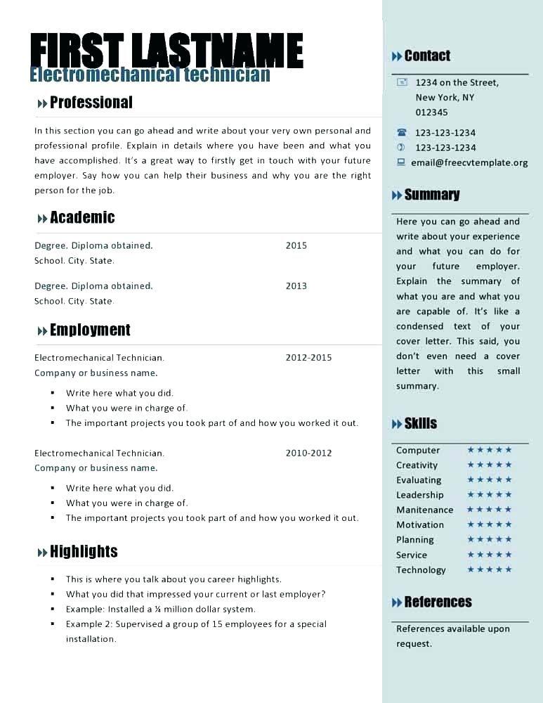Excel In 2020 Resume Template Word