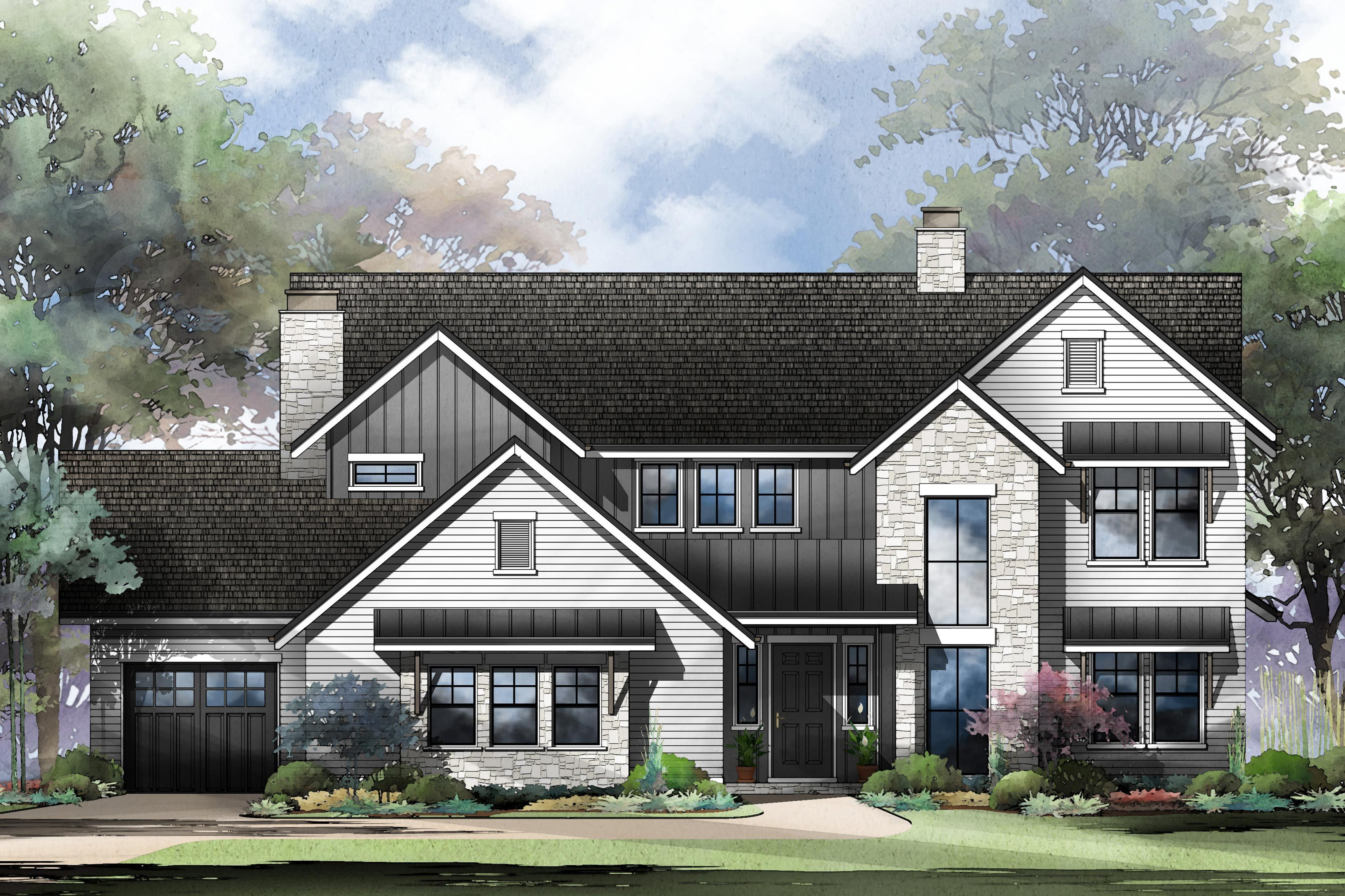Plan 95089rw Fresh Two Story New American House Plan With 2 Story Great Room In 2020 American Houses House Plans Traditional House Plan