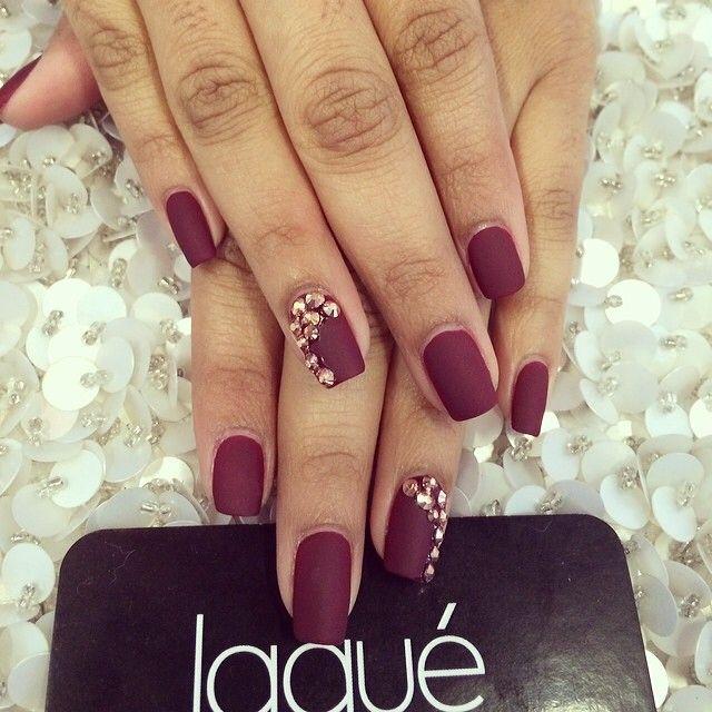 burgundy nails matte - Google leit | Nails | Pinterest | Prom nails ...