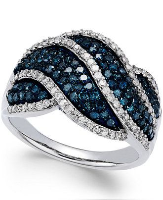 Wrapped in Love™ White and Blue Diamond Twist Ring in Sterling Silver (1 ct. t.w.) - Rings - Jewelry & Watches - Macy's