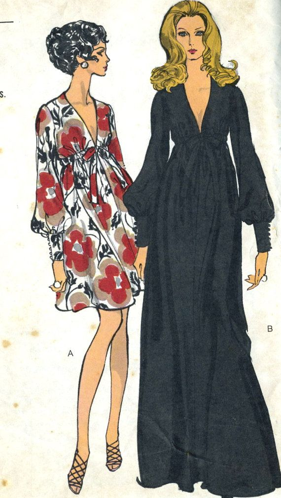 Vintage 1960s Vogue 7630 Misses Plunging Neckline Evening Dress ...