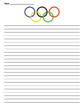 Olympic Symbol Lined Paper - Olympic Writing