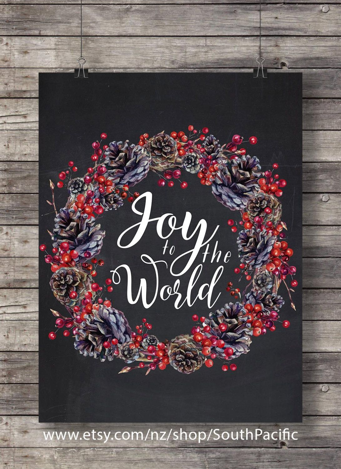 Christmas Joy to the world christmas carol lyrics chalkboard Pine ...