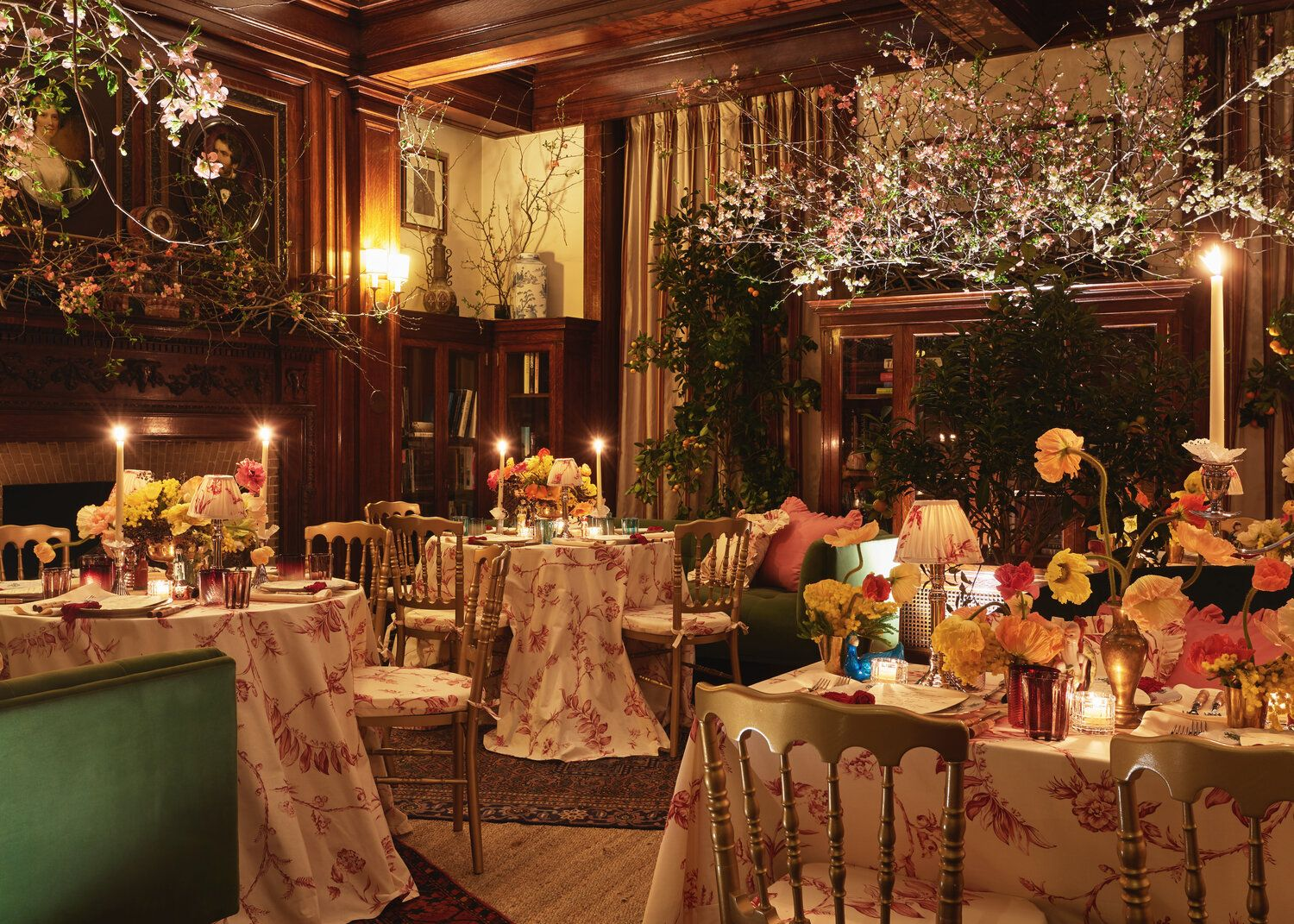 Party Setting Styled Dining Room Gold Chairs Floral