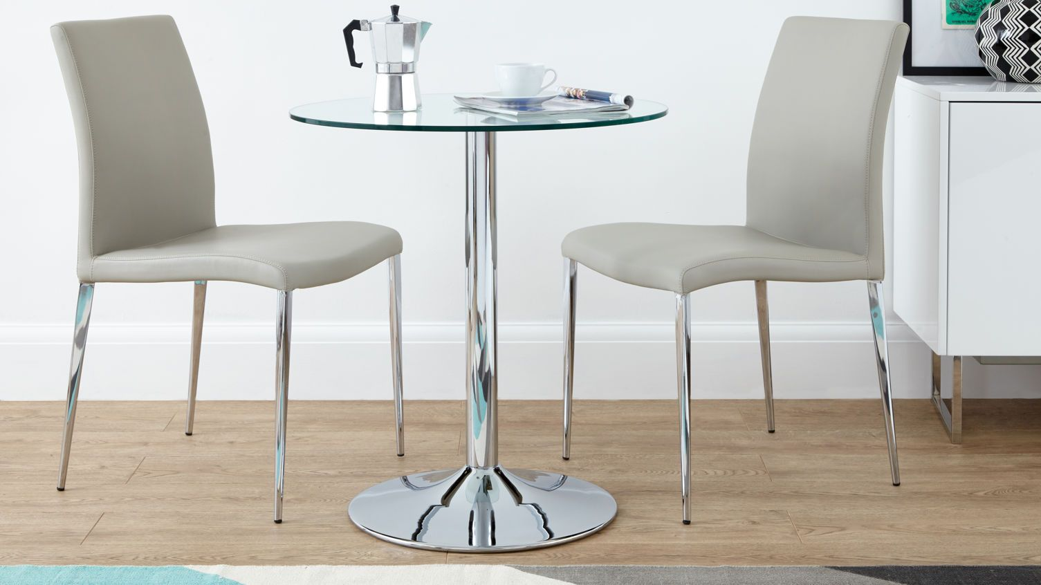 Naro Glass And Elise Small 2 Seater Dining Table And Chairs