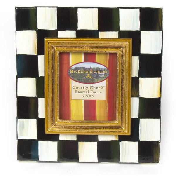 mackenzie childs courtly check enamel frame 25 x 3 50 - Enamel Picture Frames