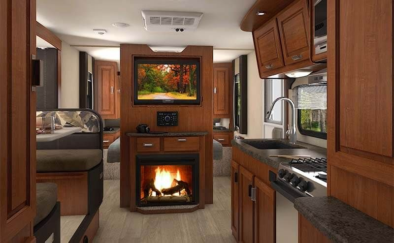 Overview Fireplace set, Travel trailer, Travel trailer